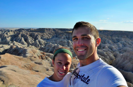 Ben and his wife, Kelly, posing on a trip to the Badlands.